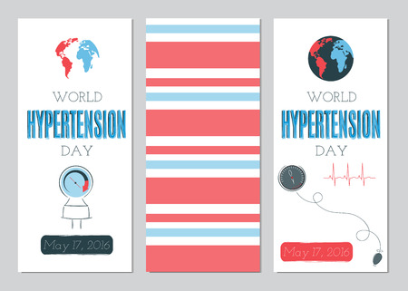 hypertensive: Vector set of vertical banner templates. Suitable for World Hypertension day holiday. For poster, greeting cards, brochures, tags and labels, souvenirs, invitations, calendars and party designs.