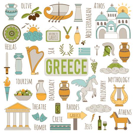 Set von traditionellen Elementen Griechenland. Reisen touristischen Hintergrund. Für Grußkarten, Reiseprospekte, Tags und Labels, Souvenirproduktion, Einladungen, Kalender.