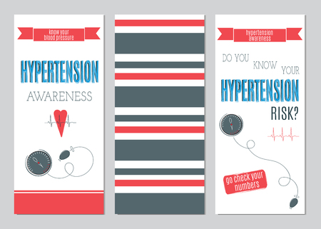 hypertensive: set of vertical banner templates. Suitable for Hypertension awareness theme. For poster, greeting cards, brochures, tags and labels, souvenirs, invitations, calendars and party designs.
