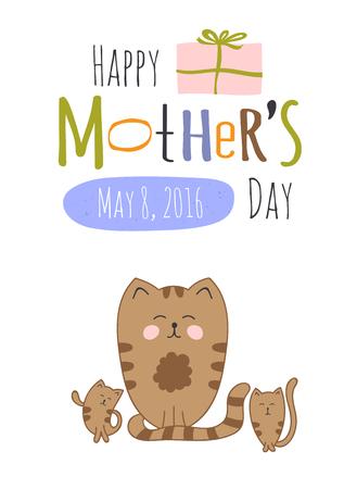 Nette Grußkarte Vorlage Für Muttertag Urlaub. Floral-Design Für ...