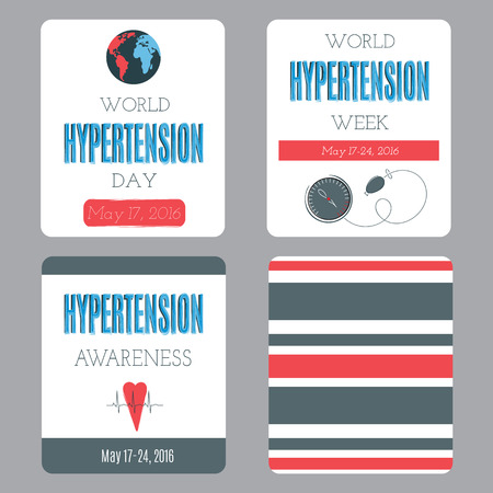 hypertensive: set of card templates. Suitable for World Hypertension day holiday. For poster, greeting cards, brochures, tags and labels, souvenirs, invitations, calendars and party designs.