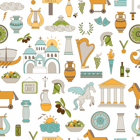 trojan horse: seamless pattern with traditional Greece elements. Travel touristic background. For greeting cards, travel brochures, souvenir production, wallpaper, surface textures, scrapbooking.