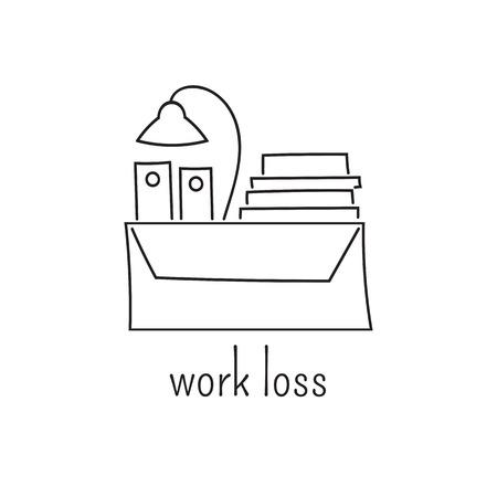 dismissed: Hand drawn thin line icon Illustration
