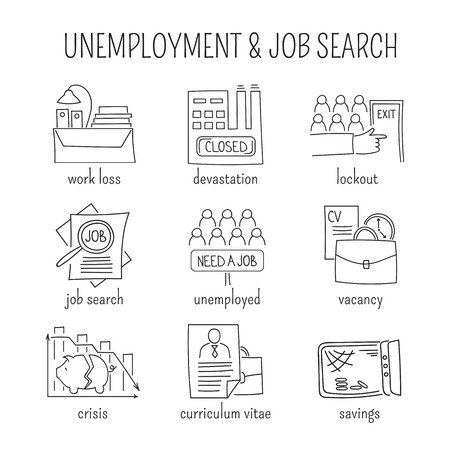unemployed dismissed: Hand drawn thin line icons set