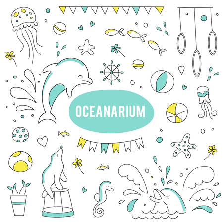 oceanarium: set of elements suitable for oceanarium or dolphinarium Illustration