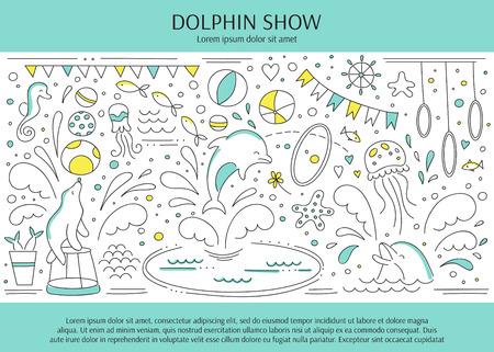 dolphinarium: horizontal banner template suitable for oceanarium or dolphinarium