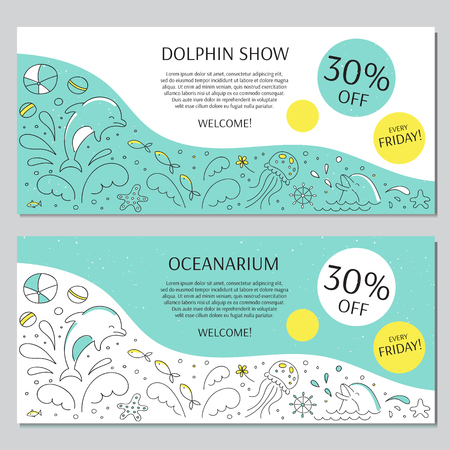 dolphinarium: horizontal banner templates suitable for oceanarium or dolphinarium