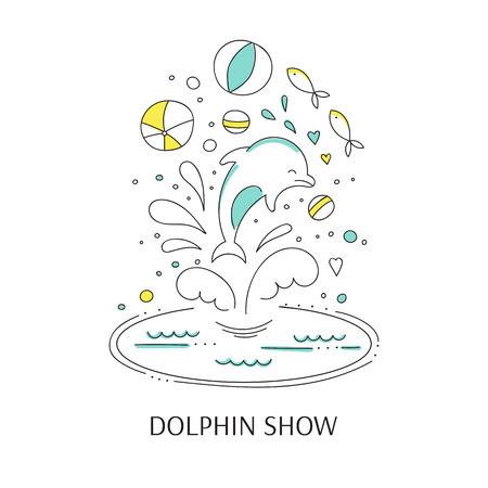 doodle illustration for oceanarium or dolphinarium