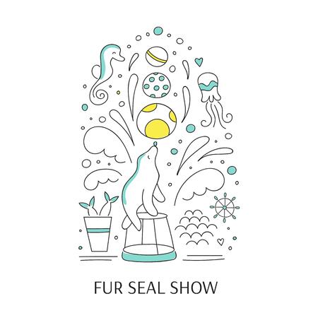 dolphinarium: doodle illustration for oceanarium or dolphinarium.