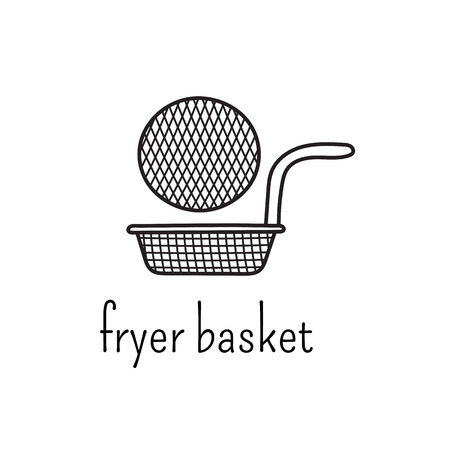 fryer: Hand drawn thin line icon, vector  template illustration. Fryer basket isolated symbol. Black on white pictogram. Simple mono linear modern design.