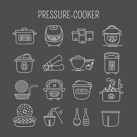 cookers: Hand drawn thin line icons set, vector illustration. Pressure cookers and accessories. Modern kitchenware. Isolated symbols. White on black pictograms. Simple mono linear design.