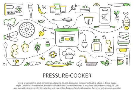 cookers: Pressure cookers and accessories. Hand drawn elements. Vector horizontal banner template. Doodle background. For banners and posters, cards, brochures, souvenirs, invitations, website designs.