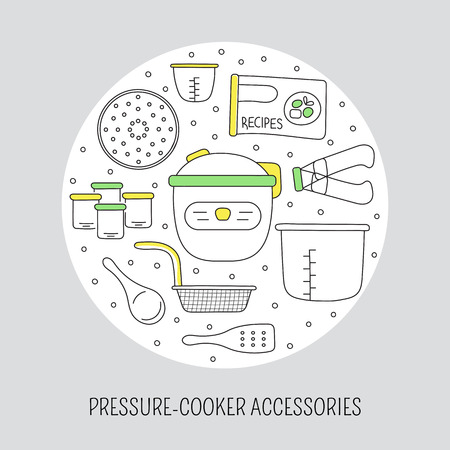Pressure cookers and accessories. card template with hand drawn elements. Clean doodle background. For banners and posters, cards, brochures and flyers, souvenirs, invitations, website designs.