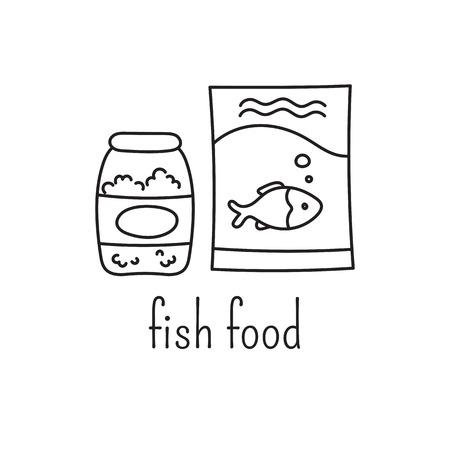 Hand drawn thin line icon,  template illustration. Aquarium care isolated symbol. Fish food. Black on white pictogram. Simple mono linear modern design.