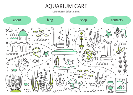 freshwater: Aquarium care. horizontal banner template. Fish and decoration, water tanks, plants and special equipment. For banners and posters, cards, brochures and souvenirs, invitations, website designs.