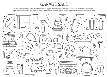 Garage Verkauf, Haushalt gebrauchten Waren. Hand schwarz auf weiß Linienelemente gezeichnet. horizontale Banner-Vorlage. Doodle Hintergrund. Für Banner und Plakate, Broschüren, Einladungen, Website-Designs. Vektorgrafik