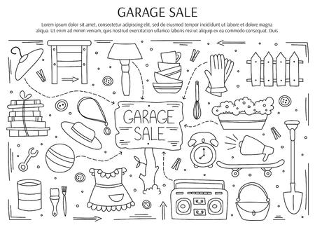 Sprzedaż garażu, towary używane w gospodarstwach domowych. R? Cznie narysowane czarno na bia? Ych linii elementów. Poziomy szablon baneru. Doodle tle. Dla banerów i plakatów, broszur, zaproszeń, projektów stron internetowych. Ilustracje wektorowe