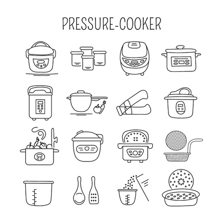 fryer: Hand drawn thin line icons set,  illustration. Pressure cookers and accessories. Modern kitchenware. Isolated symbols. Black on white pictograms. Simple mono linear design.