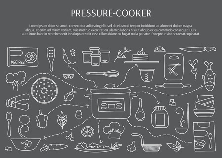 measuring spoon: Pressure cookers and accessories. Hand drawn elements.  horizontal banner template. Doodle background. For banners and posters, cards, brochures, souvenirs, invitations, website designs.