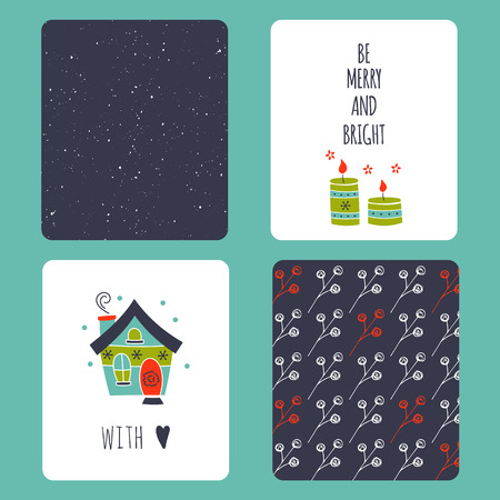 set of winter small card templates. Collection for Christmas and New Year holidays. For greeting cards, brochures, tags and labels, souvenirs, gifts decoration and sales design, scrapbooking.