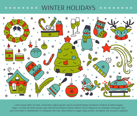 Winter holiday decorations. New Year and Christmas. Hand drawn thin line icons. horizontal banner template. For posters, cards, brochures and souvenirs, invitations, website designs. Illustration