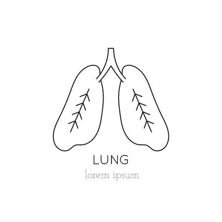 donacion de organos: pulmones icono de línea delgada, logotipo de la plantilla ilustración. Parte de la donación de órganos ajustado. Negro sobre blanco pictograma, la medicina de la salud aislados símbolo. mono diseño moderno simple lineal. Vectores