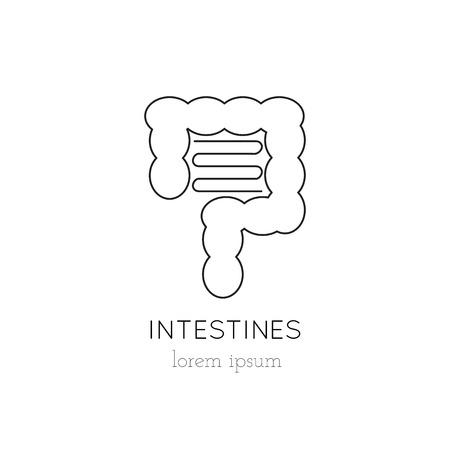 donacion de organos: intestinos icono de línea delgada, logotipo de la plantilla ilustración. Parte de la donación de órganos ajustado. Negro sobre blanco pictograma, la medicina de la salud aislados símbolo. mono diseño moderno simple lineal. Vectores