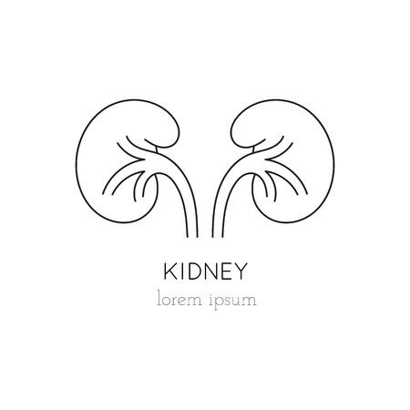 donacion de organos: riñón icono de línea delgada, logotipo de la plantilla ilustración. Parte de la donación de órganos ajustado. Negro sobre blanco pictograma, la medicina de la salud aislados símbolo. mono diseño moderno simple lineal.