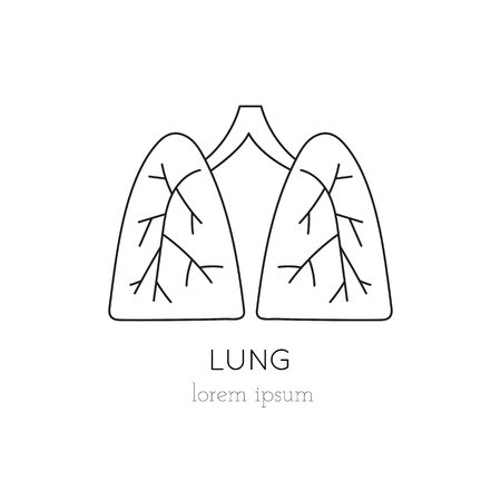 lungs thin line icon, logo template illustration. Part of Organ Donation set. Black on white pictogram, healthcare medicine isolated symbol. Simple mono linear modern design.