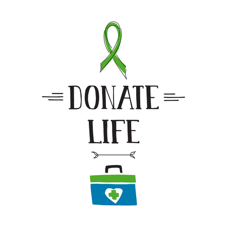 donating: hand drawn lettering on clean white background. Donate Life Awareness. Organ transplantation, healthcare concept. For card, logo, badge, t-shirt print, poster, banner design.