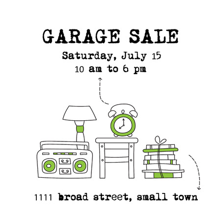 Garage sale, household used goods. square banner template. For posters, cards, brochures and invitations, flyers and website designs. Hand drawn thin line elements.
