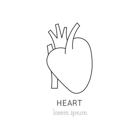 donacion de organos: corazón icono de línea delgada, logotipo de la plantilla ilustración. Parte de la donación de órganos ajustado. Negro sobre blanco pictograma, la medicina de la salud aislados símbolo. mono diseño moderno simple lineal.