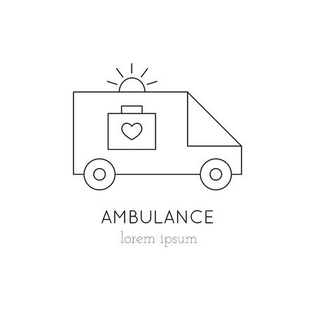 donacion de organos: ambulancia icono de línea delgada, logotipo de la plantilla ilustración. Parte de la donación de órganos ajustado. Negro sobre blanco pictograma, la medicina de la salud aislados símbolo. mono diseño moderno simple lineal.