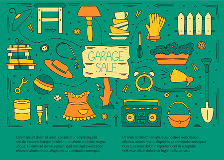 Garage sale, household used goods. Hand drawn line elements.  horizontal banner template. Doodle background. For banners and posters, cards, brochures, invitations, website designs.