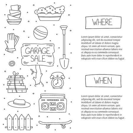 Garage sale, household used goods.  square banner template. For posters, cards, brochures and invitations, flyers and website designs. Hand drawn black on white thin line elements.