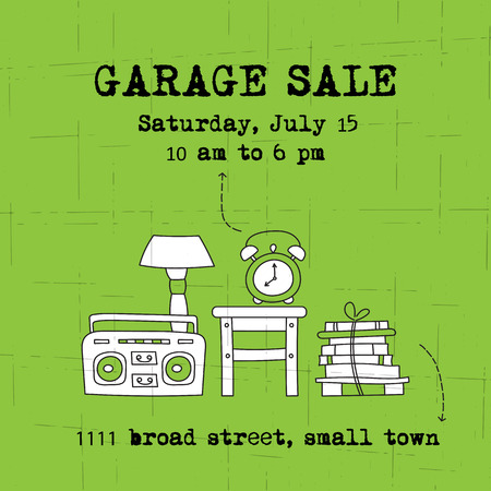 Garage sale, household used goods.  square banner template. For posters, cards, brochures and invitations, flyers and website designs. Hand drawn thin line elements.  イラスト・ベクター素材