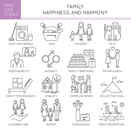fundamentals: Thin line icons set, illustration. Happy family, parents and children, fundamentals of harmony in couple relationships. Strong metaphors, isolated symbols. Simple mono linear design.