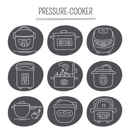 steam cooker: Hand drawn thin line icons set, illustration. Pressure cookers. Isolated symbols. White on black pictograms. Simple mono linear modern design.