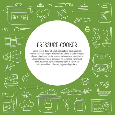 cookers: Pressure cookers and products. card template with hand drawn elements. Clean doodle background. For banners and posters, cards, brochures and flyers, souvenirs, invitations, website designs. Illustration