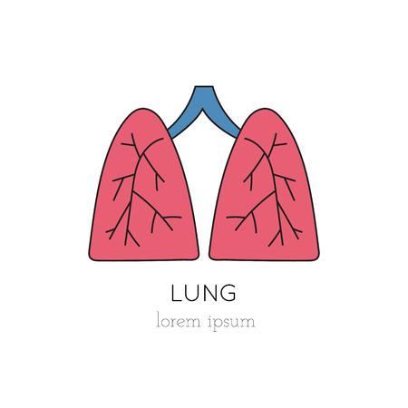 donacion de organos: Vector lungs thin line icon, logo template illustration. Part of Organ Donation set. Colored pictogram, healthcare medicine isolated symbol. Simple mono linear modern design.