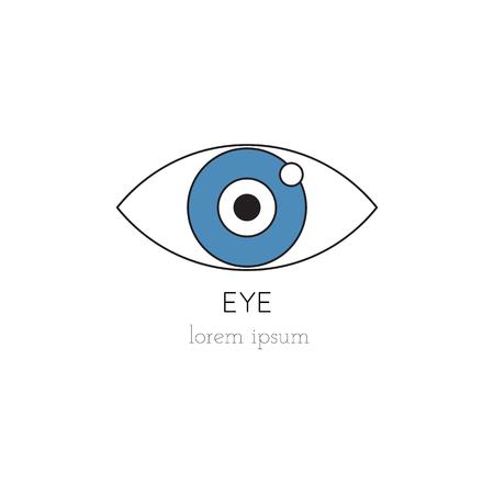 donacion de organos: Vector eye thin line icon, logo template illustration. Part of Organ Donation set. Colored pictogram, healthcare medicine isolated symbol. Simple mono linear modern design.