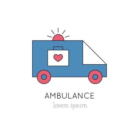 donacion de organos: Vector ambulance thin line icon, logo template illustration. Part of Organ Donation set. Colored pictogram, healthcare medicine isolated symbol. Simple mono linear modern design.