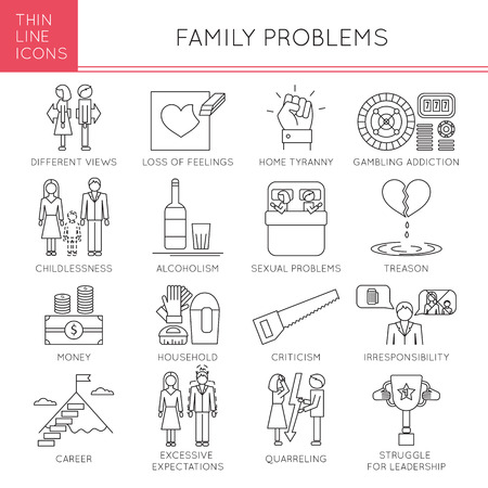 betrayal: Thin line icons set, vector illustration. Family problems, causes of conflict and divorce, couple relationships. Strong metaphors, isolated symbols. Simple mono linear design.