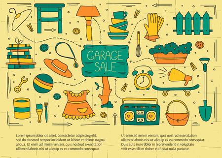 Garage Verkauf, Haushalt gebrauchte Waren. Hand gezeichnete Linienelemente. Vektor horizontale Banner-Vorlage. Doodle Hintergrund. Für Banner und Plakate, Karten, Broschüren, Einladungen, Website-Designs.