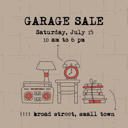 Garage sale, household used goods. Vector square banner template. For posters, cards, brochures and invitations, flyers and website designs. Hand drawn thin line elements. Zdjęcie Seryjne - 69767024