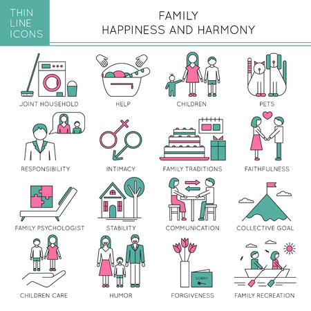 faithfulness: Thin line icons set, vector illustration. Family values, parents and children, fundamentals of harmony in couple relationships. Strong metaphors, isolated symbols. Simple mono linear design.