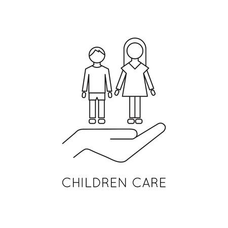 Children care line icon 向量圖像