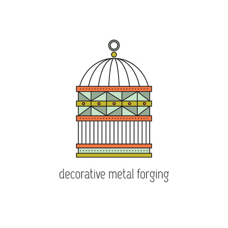 forge: Decorative metal forging line icon