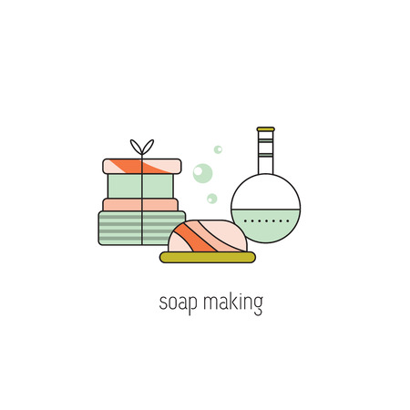 Soap making line icon