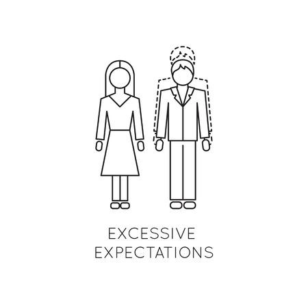 dominance: Excessive expectations line icon Stock Photo